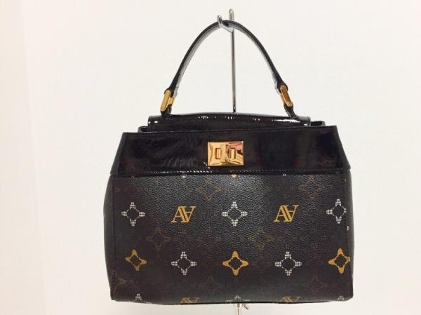 アタオ ハンドバッグ美品  黒×ベージュ PVC(塩化ビニール)×エナメル(レザー)