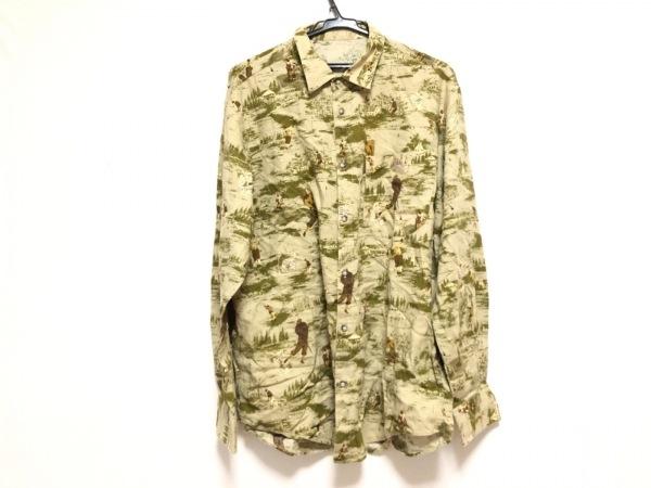 Papas(パパス) 長袖シャツ サイズ50 メンズ カーキ×ダークグリーン×マルチ
