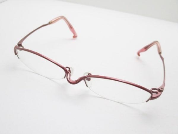 フォーナインズ メガネ美品  S-611T クリア×レッド 度入り プラスチック×金属素材