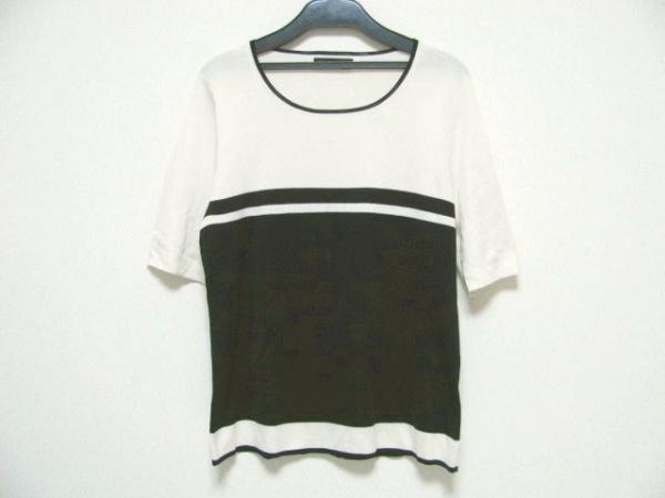 ダーマコレクション 半袖セーター サイズLL レディース美品  白×黒 シルク