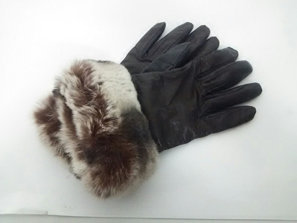 ALPO(アルポ) 手袋 7 レディース ダークブラウン レザー×カシミヤ