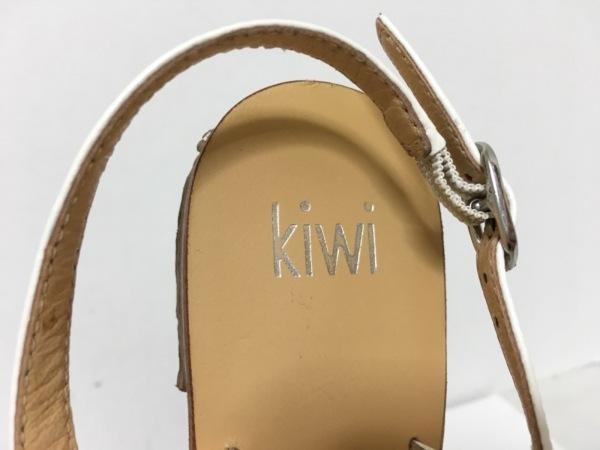 kiwi(キウィ) サンダル 37 レディース 白×クリア レザー×ラインストーン