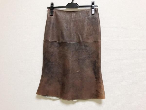ナイジェルプレストン スカート サイズS レディース美品  ダークブラウン レザー