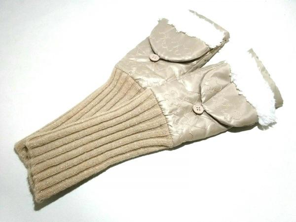 アナスイ 手袋 21cm レディース美品  ベージュ×白 刺繍/ラメ 化学繊維×ウール