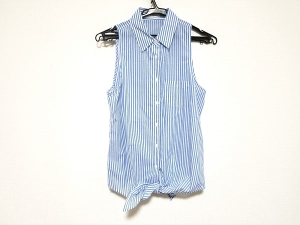 エキプモン ノースリーブシャツブラウス サイズXS レディース美品  ブルー×白