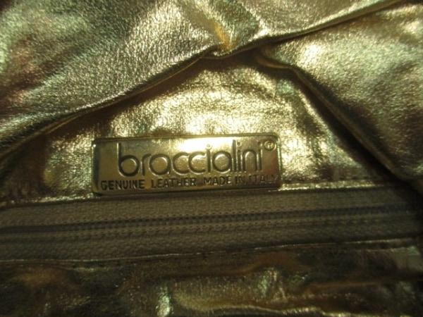 ブラッチャリーニ ショルダーバッグ カーキ×グレー×ゴールド ストライプ