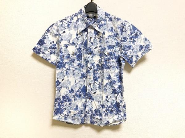 トルネードマート 半袖シャツ サイズM メンズ ブルー×ライトブルー×白 花柄