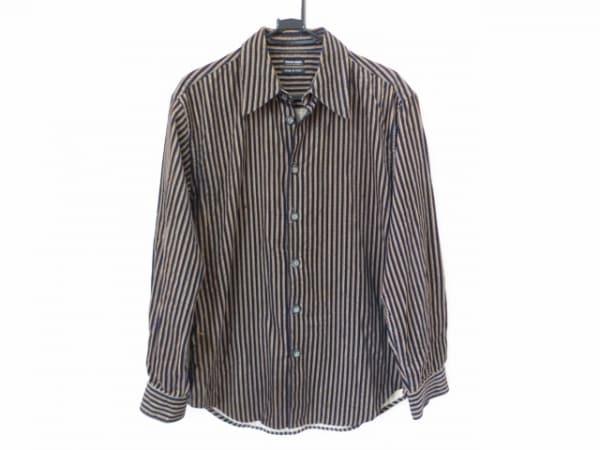 ジョルジオアルマーニ 長袖シャツ サイズ48 M メンズ美品  黒×ブラウン ストライプ