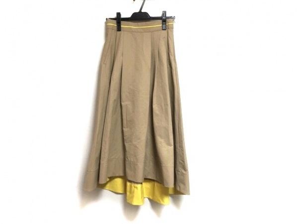 ミラオーウェン ロングスカート サイズ1 S レディース新品同様  ベージュ×イエロー