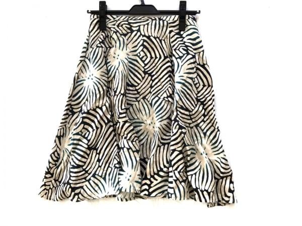 アダムジョーンズ スカート サイズ36 S レディース アイボリー×黒×グリーン