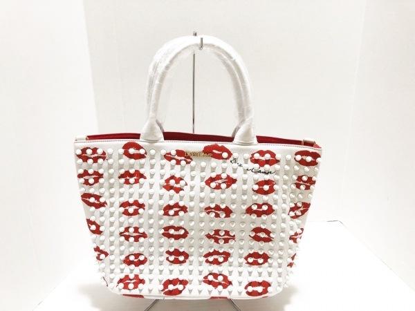 ドレスキャンプ トートバッグ美品  白×レッド リップ/スタッズ キャンバス