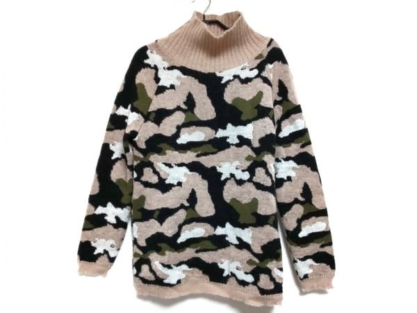 エムエスジィエム 長袖セーター サイズS レディース美品  ベージュ×カーキ×マルチ