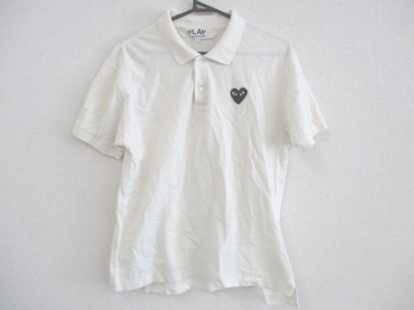 プレイコムデギャルソン 半袖ポロシャツ サイズL メンズ 白×黒 ハート
