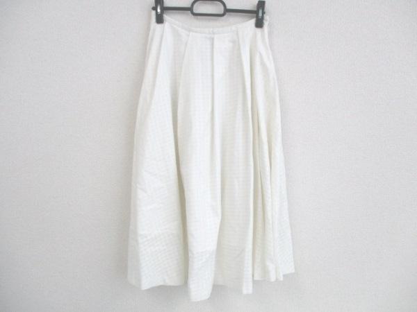 LE CIEL BLEU(ルシェルブルー) ロングスカート サイズ38 M レディース 白 チェック柄