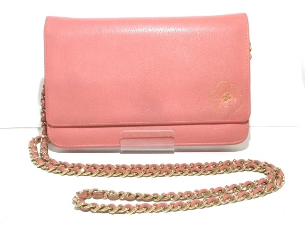 43dcab02aa4c CHANEL(シャネル) 財布 カメリア ピンク チェーンウォレット/ゴールド金具 レザー