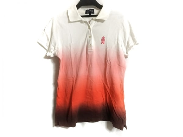 パーリーゲイツ 半袖ポロシャツ サイズ0 XS レディース美品  白×レッド×ボルドー