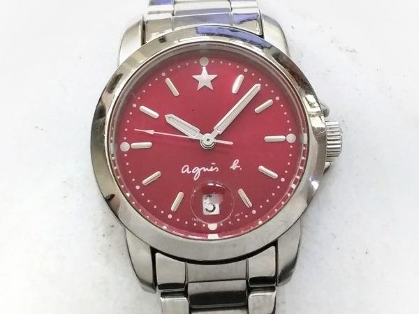 agnes b(アニエスベー) 腕時計美品  - 7N82-0BM0 レディース レッド