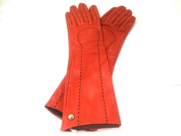 Le Vernis(ルヴェルニ) 手袋 レディース オレンジ ステッチ レザー