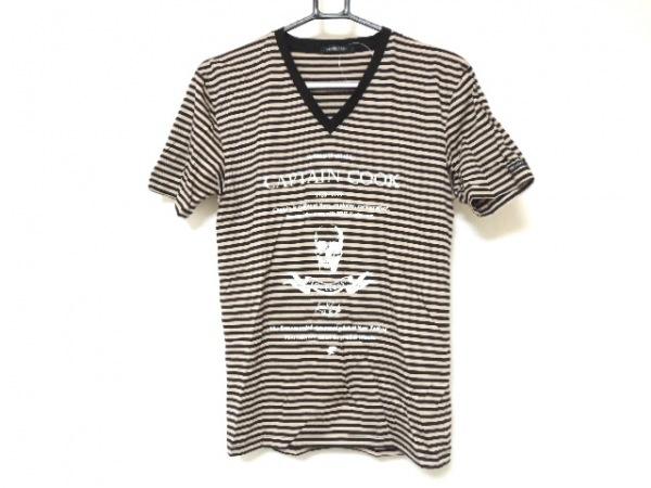 ラブレス 半袖Tシャツ サイズ1 S メンズ美品  黒×ベージュ ボーダー/Vネック