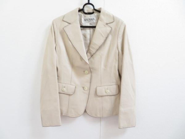 バルマン ジャケット サイズ9 M レディース美品  アイボリー レザー/肩パッド