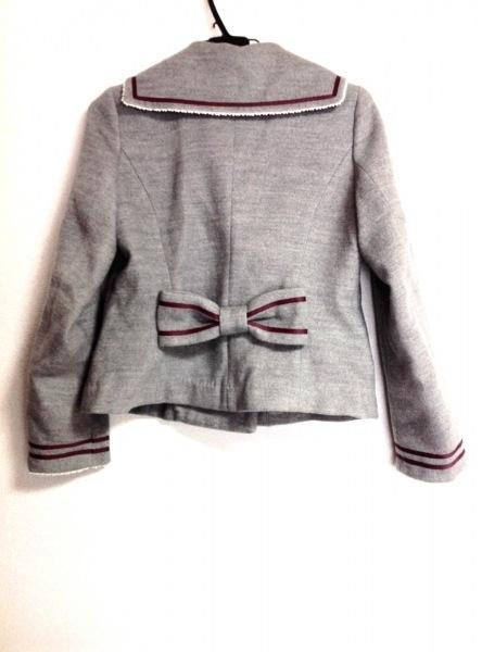シークレットハニー ジャケット レディース グレー×ボルドー リボン/刺繍