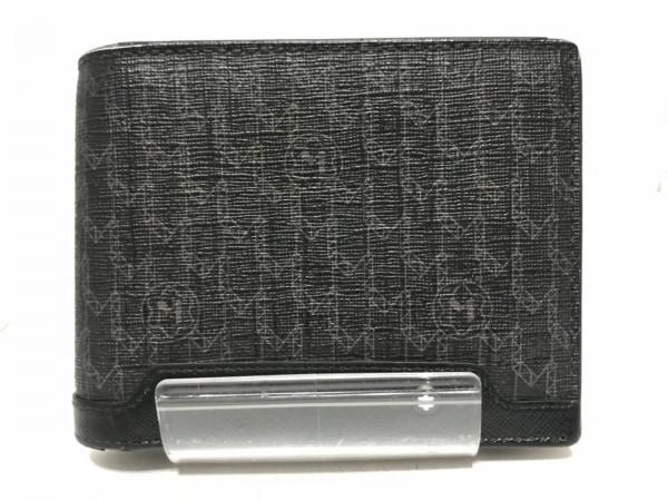 モンブラン 2つ折り財布 カーキ×黒×マルチ コーティングキャンバス×レザー