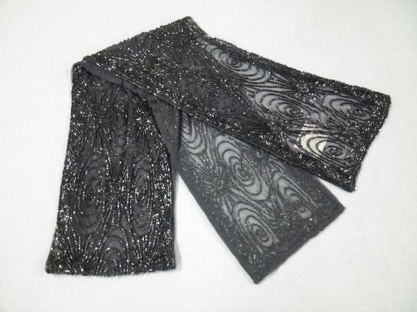 ラルフローレンコレクション パープルレーベル スカーフ美品  黒 ビーズ