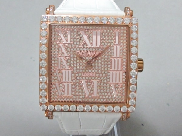 フェイスアワード 腕時計美品  LOREN - メンズ ラインストーンベゼル ピンクゴールド