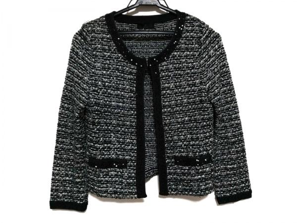 イネド ジャケット サイズ9 M レディース美品  黒×白×シルバー ラメ/スパンコール