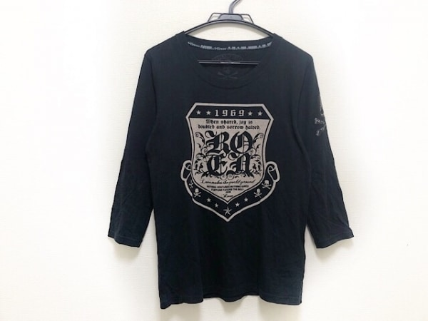 Roen(ロエン) 長袖Tシャツ サイズ46 XL メンズ 黒×ベージュ スカル/スタッズ