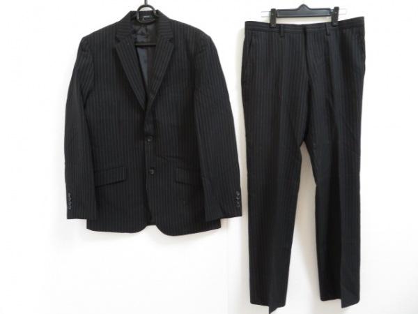 コムサイズム シングルスーツ サイズL メンズ美品  黒×グレー ストライプ