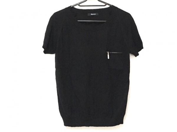 Aquascutum(アクアスキュータム) 半袖セーター サイズ8 M レディース 黒