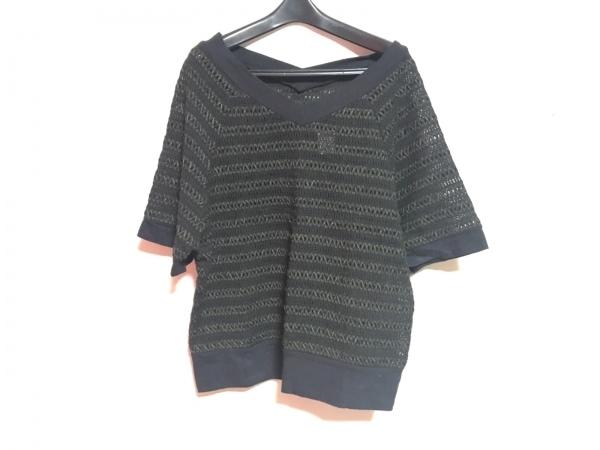 リミフゥ 半袖カットソー レディース 黒×グレー ドルマンスリーブ/シースルー