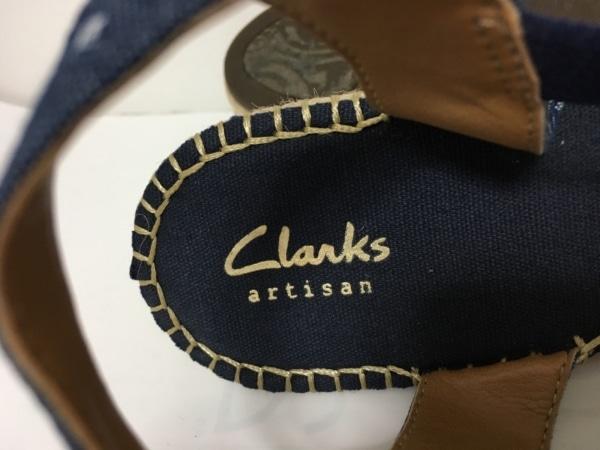 Clarks(クラークス) サンダル 4 2/1 レディース ネイビー×ライトグレー コットン×麻