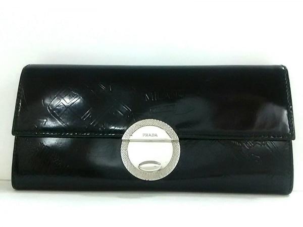 PRADA(プラダ) 長財布 - 1M1037 黒 型押し加工 レザー
