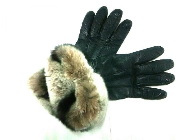 Gloves(グローブス) 手袋 レディース美品  黒×ライトグレー×グレー レザー×ファー