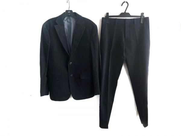 ヒューゴボス シングルスーツ サイズ48 M メンズ 黒×ライトブルー ストライプ