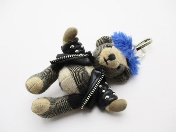 バーバリー キーホルダー(チャーム) ベージュ×黒×ブルー クマ/チェック柄/スタッズ