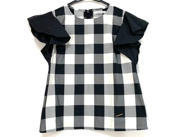 マルシャル・テル カットソー サイズ2 M レディース美品  黒×白 チェック柄/フリル