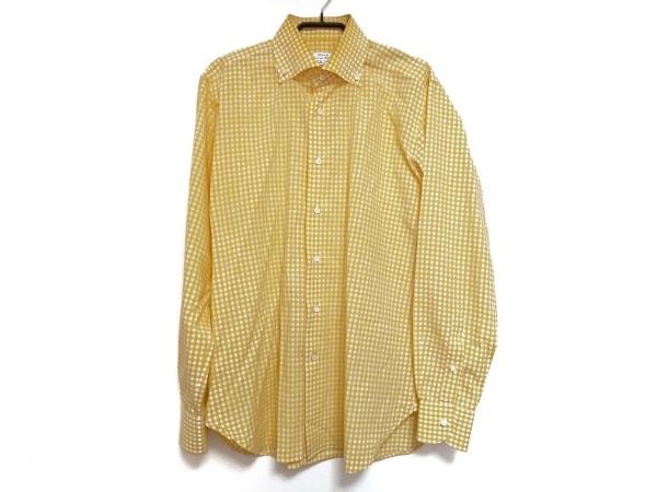 ORIAN(オリアン) 長袖シャツ サイズ41 メンズ イエロー×白 ギンガムチェック