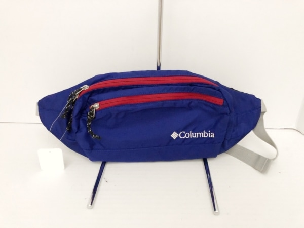 columbia(コロンビア) ウエストポーチ美品  ブルー×レッド×ライトグレー ナイロン