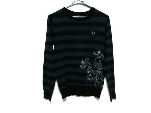 FRED PERRY(フレッドペリー) 長袖セーター サイズS メンズ 黒×ダークグレー ボーダー