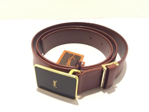 イヴサンローラン ベルト ブラウン×黒×ゴールド レザー×金属素材