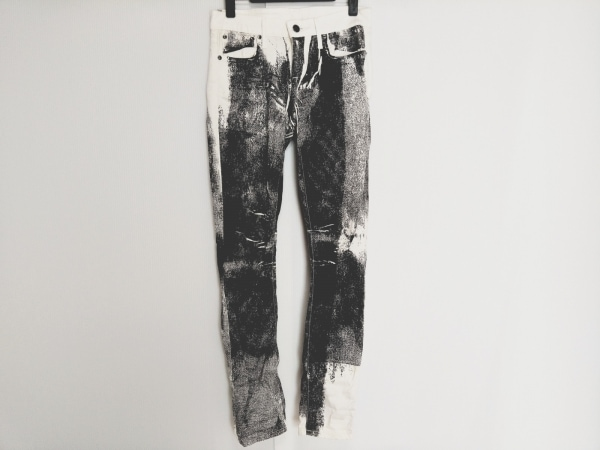 ヘルムートラング パンツ サイズ24 レディース 白×ダークグレー デニム風プリント