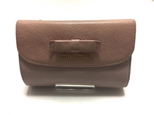 miumiu(ミュウミュウ) 3つ折り財布 - ピンク リボン レザー