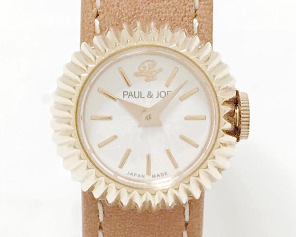 Paul&Joe(ポール&ジョー) 腕時計美品  PJ-7716 レディース 革ベルト アイボリー