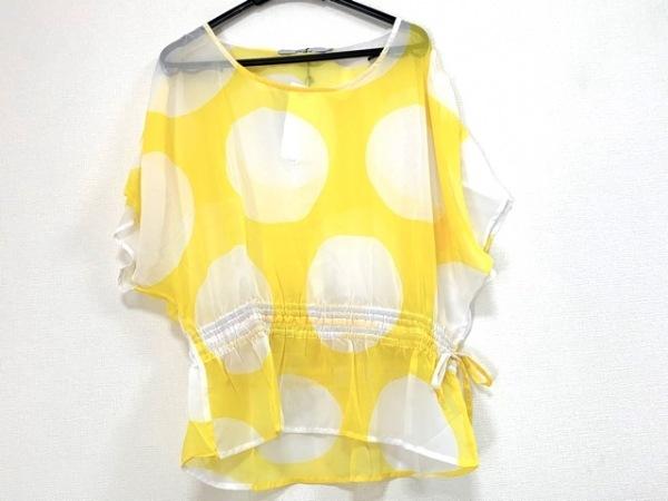 ジョイリッチ 半袖カットソー サイズS レディース美品  イエロー×白 シースルー
