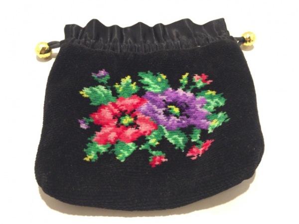 FEILER(フェイラー) ポーチ美品  黒×マルチ 花柄 パイル×化学繊維