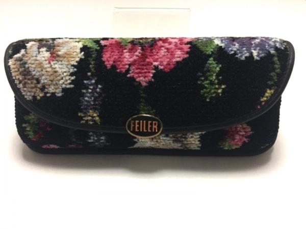 FEILER(フェイラー) メガネケース 黒×マルチ パイル