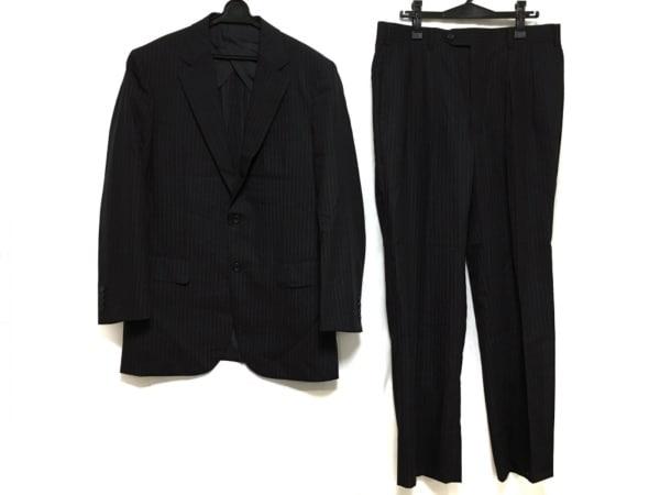 バーバリーロンドン シングルスーツ メンズ美品  ダークグレー×マルチ ストライプ